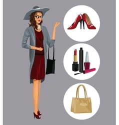 elegant wo with various accessories makeup shoes vector image