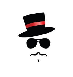 face with mustache and hat vector image vector image