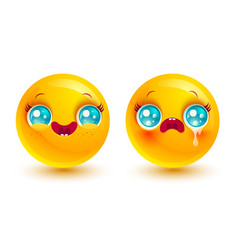 funny and sad emoji vector image vector image