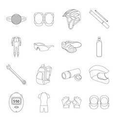 Gloves suit helmet sneakers and other equipment vector