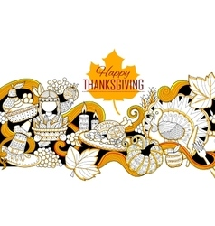 Happy thanksgiving holiday doodle vector