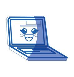 kawaii laptop computer icon vector image vector image