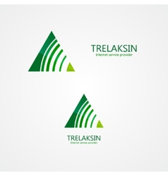 Logo combination of a triangle and signal vector