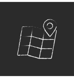 Map with pointer icon drawn in chalk vector