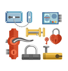 Metal locks for permises protection isolated vector