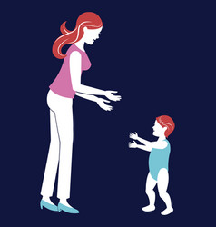 Mother baby walking blue background vector