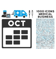 October calendar grid icon with 1000 medical vector