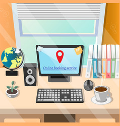 online book service on computer vector image vector image
