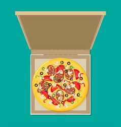 Open pizza box flat style design - vector