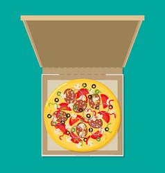 Open pizza box flat style design - vector