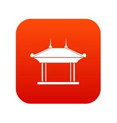 Pagoda icon digital red vector