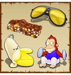 Play set of banana toys sweets and sunglasses vector