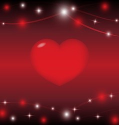 red heart on red background with light star vector image