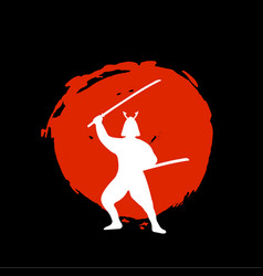 Samurai warrior silhouette on red moon and black vector