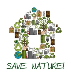 Save nature ecology environment protection label vector