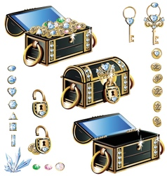 treasure chest with blue decoration vector image vector image