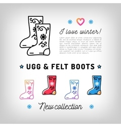 Ugg and felt boots thin line icons valenki vector