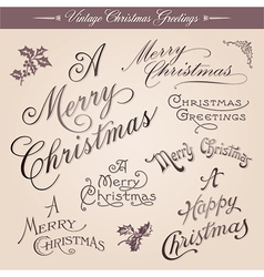 Vintage christmas greetings vector
