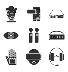Virtual reality icon set vector