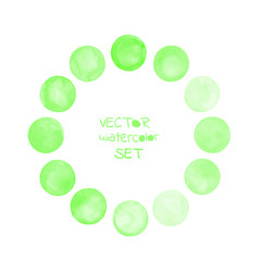 watercolor green painted circle frame vector image vector image