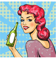 woman with wine in pop art vector image vector image