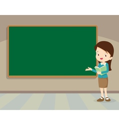 Young teacher standing with chalkboard vector image