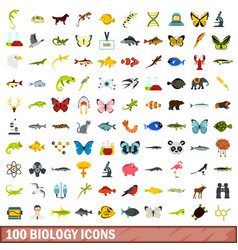 100 biology icons set flat style vector