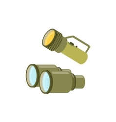 Pair of binoculars and a lamp vector