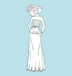 Young woman in a wedding dress vector