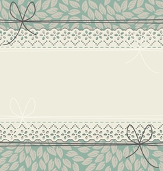 Horizontal lace frame with stylish leaves vector