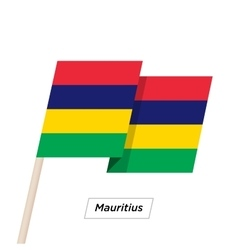Mauritius ribbon waving flag isolated on white vector