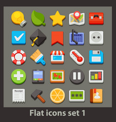 flat icon-set 1 vector image