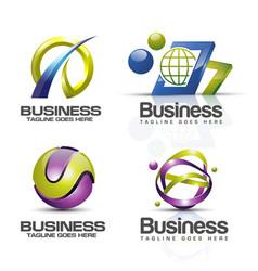 3d logo set vector