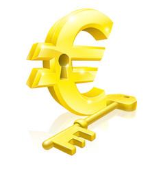 Euro key lock concept vector