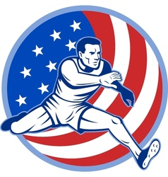 Track and field athlete jumping stars and stripes vector