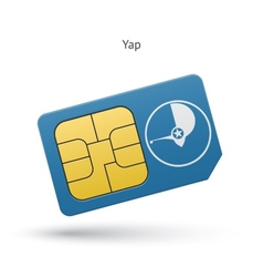 Yap mobile phone sim card with flag vector