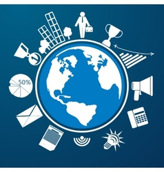 Around the world with item icons vector image