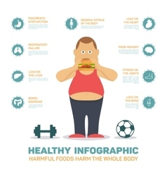 Flat health infographics  fat man eat hamburger vector
