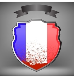French shield and black ribbon vector