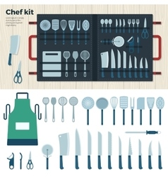Modern kitchen tools for cooking chef kit vector