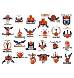 Basketball sport game orange and blue icons vector