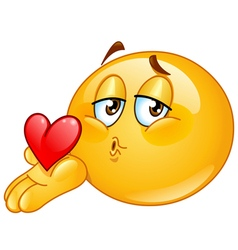 Blowing kiss male emoticon vector