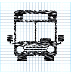 Bus icon with pen effect on paper vector