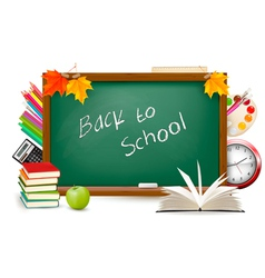 back to schoBack to school Green desk with splies vector image