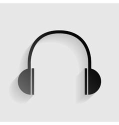 Headphones sign  black paper with vector