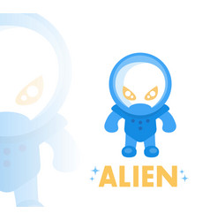 Alien in blue space suit in flat style vector