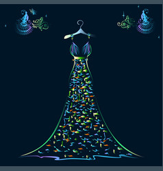 beautiful shining evening dress silhouette vector image