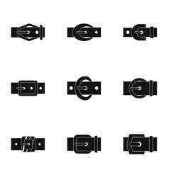 Belt buckle icon set simple style vector