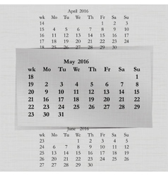 calendar month for 2016 pages May start Monday vector image