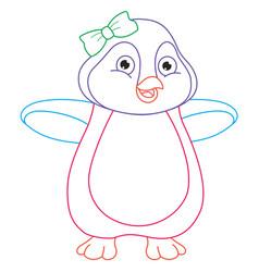 cartoon penguin coloring page vector image